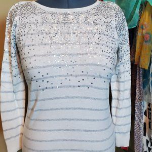 Striped, Sequined Fitted Sweater